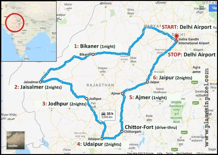 rajasthan road trip map