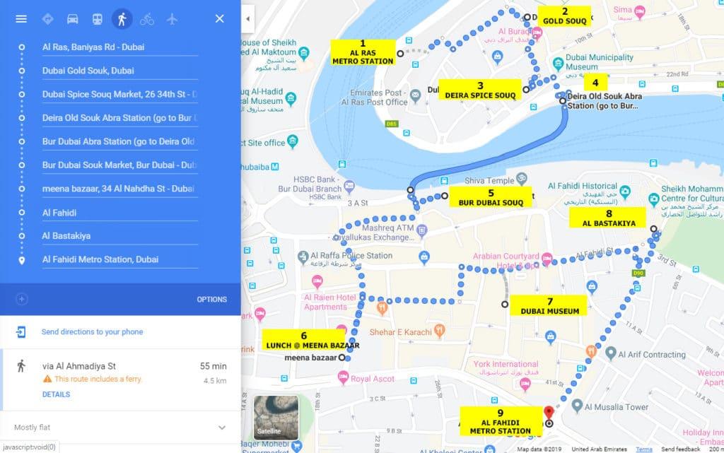 Old Dubai Walking Tour Map