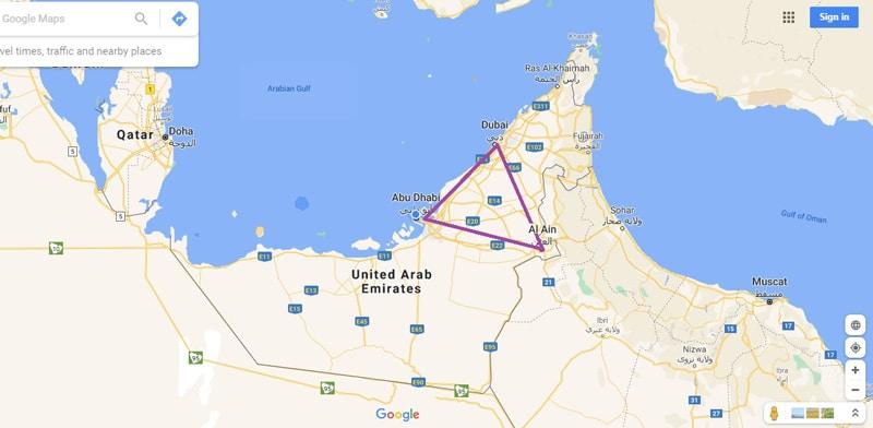 Al Ain Road trip map